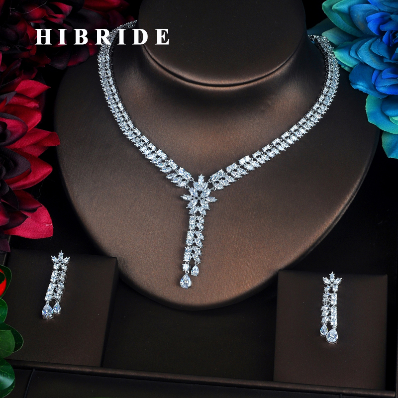 HIBRIDE Luxury New Dubai Cubic Zirconia Full Jewelry Sets Beautiful Women Bride Necklace Sets Dress Accessories N-350HIBRIDE Luxury New Dubai Cubic Zirconia Full Jewelry Sets Beautiful Women Bride Necklace Sets Dress Accessories N-350