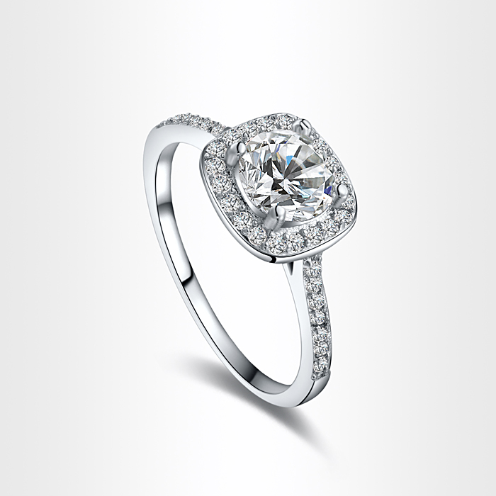 Classic White Gold Color Engagement Rings Prong Setting Cubic ...
