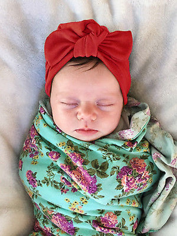 LOVELY Newborn Baby Toddler Kids Boy Girl Bowknot Cotton Beanie Hat Cap Solid Pink Gray Red Hats