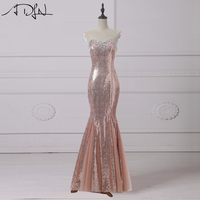ADLN Rose Gold Sequin Evening Dresses Long Sweetheart Sleeveless Crystals Mermaid Prom Gown Bling Party Wear