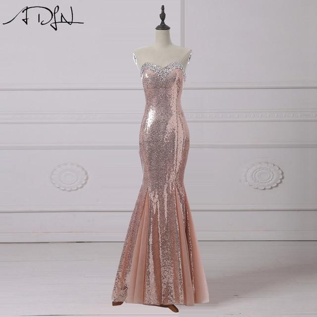 ADLN rosa de oro lentejuelas vestidos de noche Long Sweetheart sin mangas  cristales sirena de baile 67f0c49edf9f