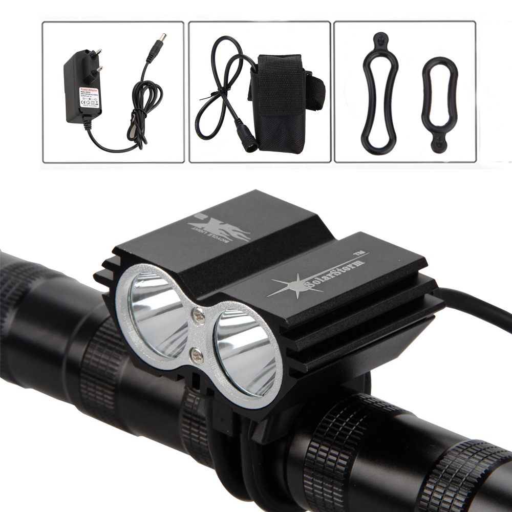 SolarStorm Torch Rechargeable +Battery Bike Lamp Flashlight Bicycle Headlamp light 5000LM 2X XM-L U2 LED Headlight 3800 lumens cree xm l t6 5 modes led tactical flashlight torch waterproof lamp torch hunting flash light lantern for camping z93