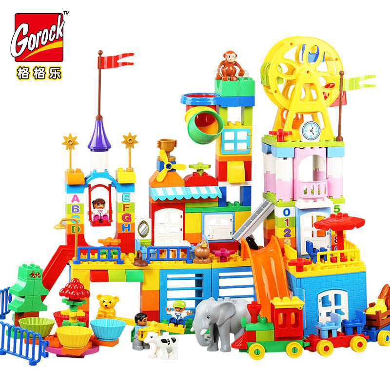 GOROCK 230PCS Large Blocks Happy Dreamland Building Blocks Set Kids DIY Creative Compatible With Duploe Toys Children Gifts 26pcs highway bridge blocks set large train railway building blocks kids diy toys compatible with duploe children gift
