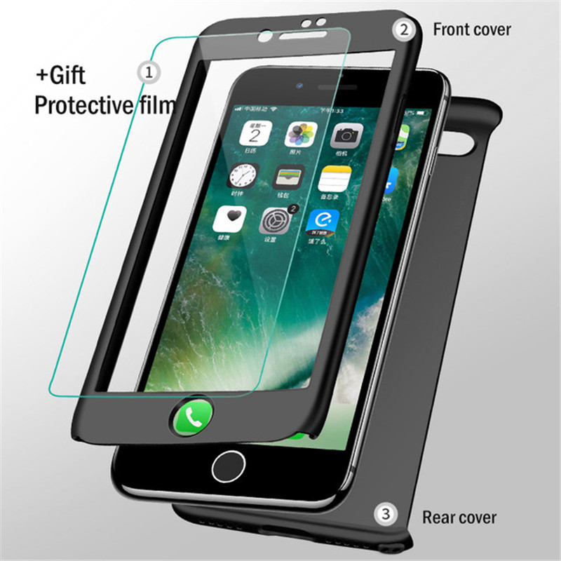 SHUOHU Luxury 360 Full Protection Phone Cases for Iphone X 8 7 6 6S Plus Case PC Cover for Iphone 5S SE 5 Case with Glass Funda