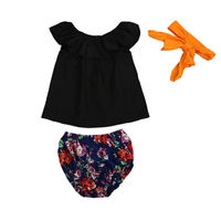 Summer Toddler Kids Baby Girls Off Shoulder Cool Black T Shirt Tops Floral Shorts Bow Headband