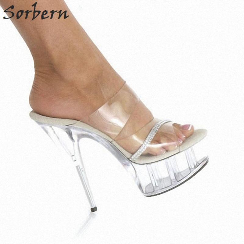 d3204ecd81 Sorbern Clear Pvc High Heel Slippers For Women Fluffy Slides Shoes Woman  Platform Women Slides Open Toe Women Outdoor Slippers