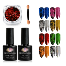 MEET ACROSS 3Pcs/set Magic Mirror Chrome Powder Metallic Gold Nail Glitter Dust Art Paillettes Need Base Top Coat Gel