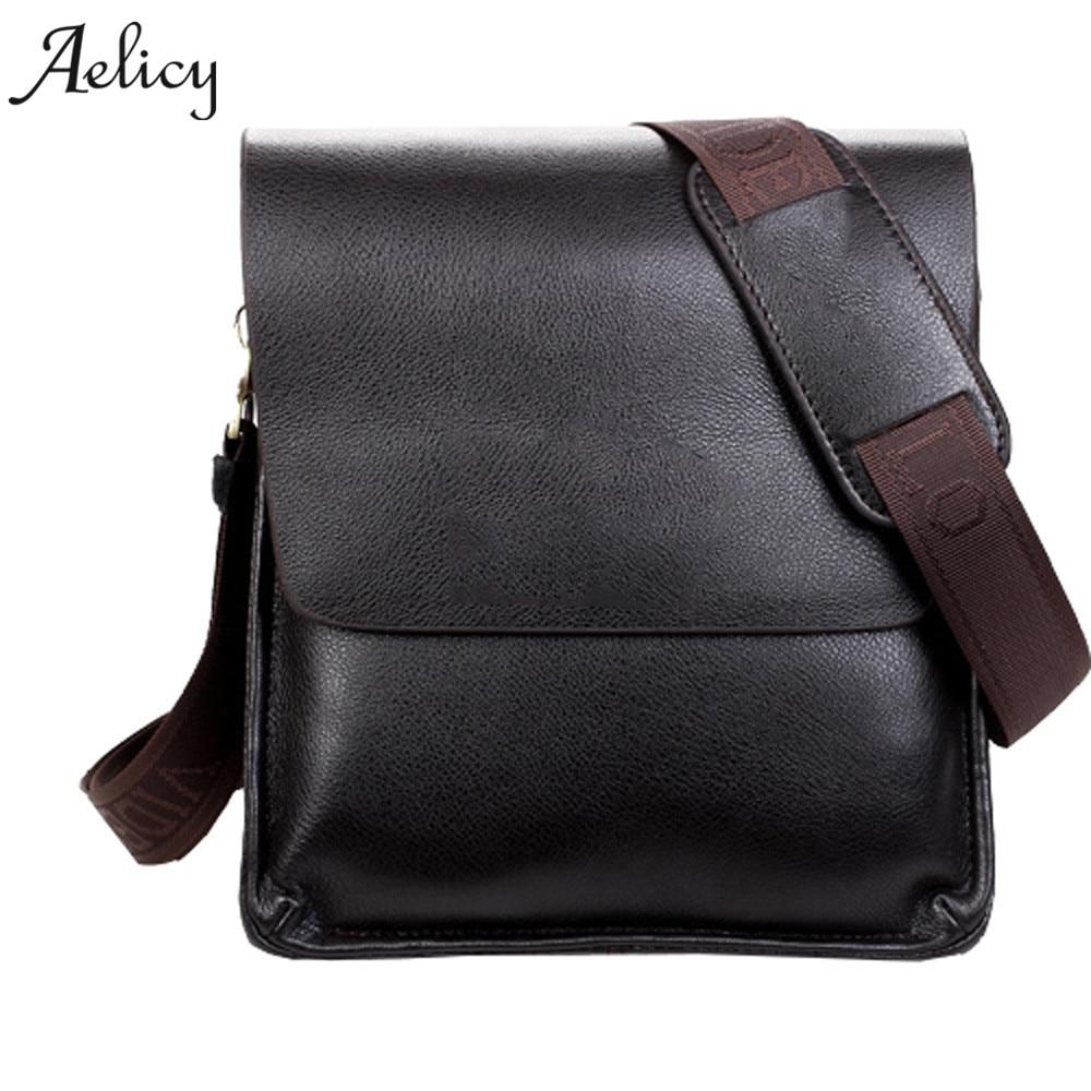 Aelicy Famous Brand Leather Men Bags Casual Business Leather Mens Messenger Bags Vintage Men's Shoulder Bag Leather bolsas male