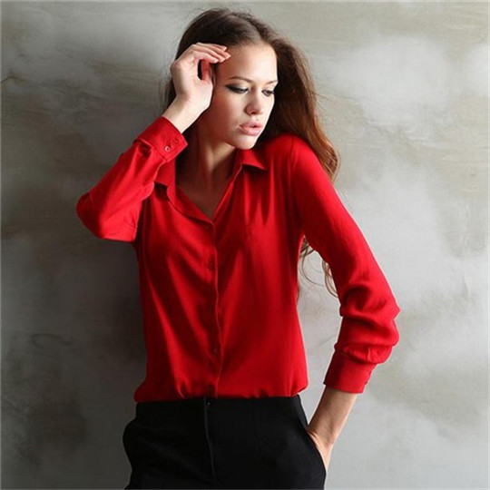 b8bac5a4219 Elegant Women 5Colors Plus Size Fitted Chiffon Blouse Ladies Formal Office  Shirts Blusas Feminina Tops Work Wear Upper Clothing-in Blouses   Shirts  from ...