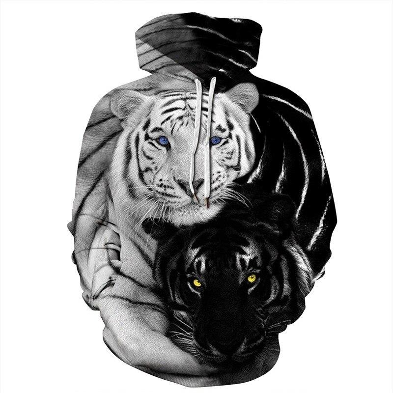 Black White Tiger Printed Hoodies Men/women Sweatshirts Pull Homme Hooded Hoodie Sweatshirt Hombre Streetwear Pullovers Tops