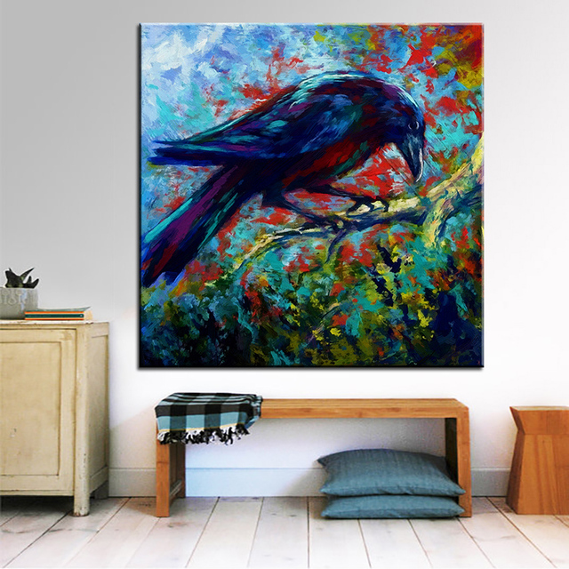 Large Size Printing Oil Painting Lone Raven Wall Painting Steampunk Wall Art  Picture For Living Room