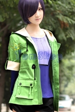 Anime Tokyo Ghoul Toka Kirishima Touka Cosplay Costume Green Jacket Coat Uniform Tops Suit + Purple Long Sleeve Shirt