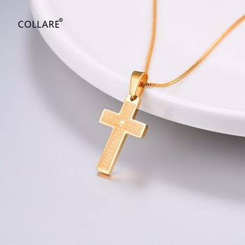 e39cdf4e33cf Collare Biblia verso Cruz colgantes hombres oro Negro Color joyería  cristiana 316L escritura del acero inoxidable collares mujeres P904