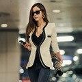 Señoras de la manera Chaqueta de la Capa de Las Mujeres Tops Para Mujer Outwear Traje Casual Blaiser Clásico Blanco Y Negro Patchwork Slim Fit escudo