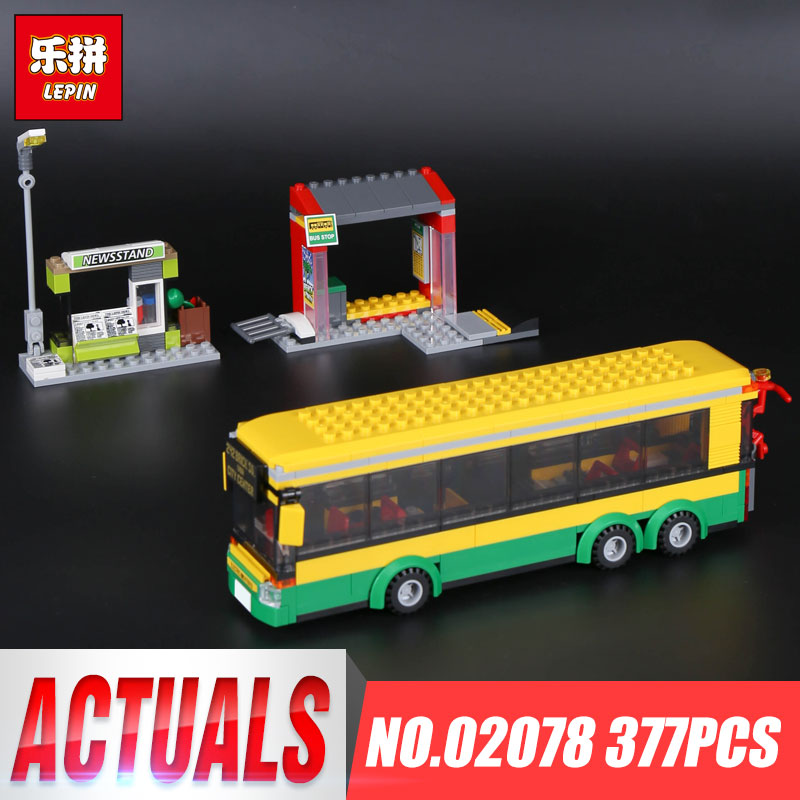 Lepin 02078 Genuine 377Pcs City Series The Bus Station Set 60154 Building Blocks Bricks Educational Toys Christmas Birthday Gift lepin 02020 965pcs city series the new police station set children educational building blocks bricks toys model for gift 60141