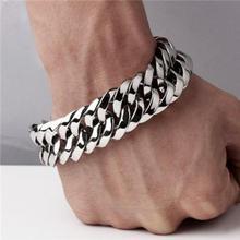 Fashion New Link Chain Stainless Steel Bracelet Men Heavy 20mm / 30mm Wide Mens Bracelets Double Curb Wristband
