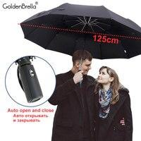 مظلة مطر أوتوماتيكية بالكامل للنساء والرجال ، 3 طبقات عالية الجودة ، مقاومة للرياح ، عمل ، مظلة كبيرة ، سياحة باراغواي ، 125 سنتيمتر