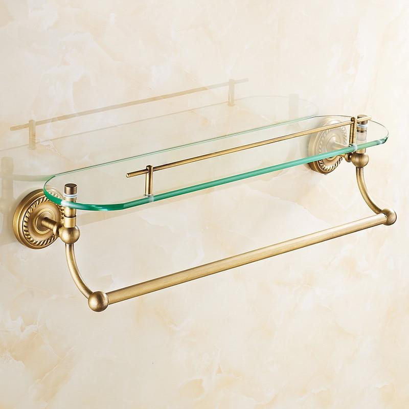 AUSWIND vintage soild brass Glass shelf for bathroom with towel bar ...