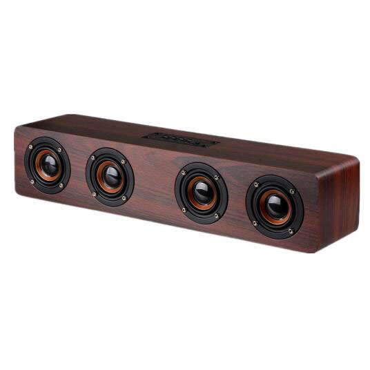 4 Horns High Power Wood Wireless Bluetooth Speaker Portable Computer Speakers 3D Loudspeakers For TV Home Theatre Sound Bar AUX