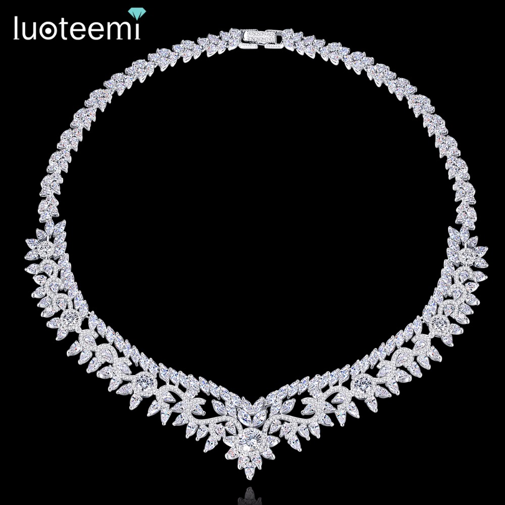 LUOTEEMI Necklace Copper CZ New Arrival Charm Fascination Fashion Geometric Shape For Women Girl Wedding Anniversary Choker charming multilayered geometric choker necklace for women