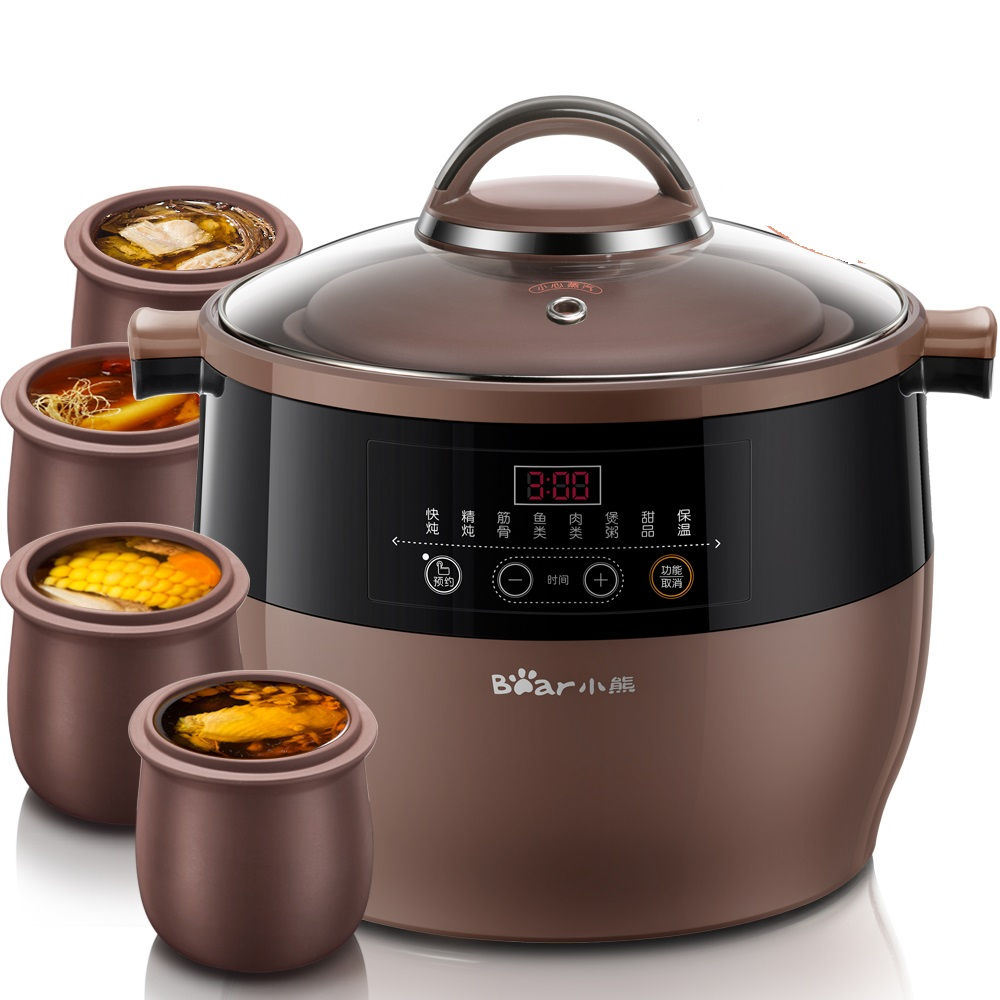 220V Automatic Electric Household Stewing Pot Machine Multi Cooker EU/AU/UK With 5 Ceramic Inners Easy Operation Soup Porridg 220v household electric slow stewing pot machine baby porridge food maker automatic ceramic inner stewing cooker eu au uk