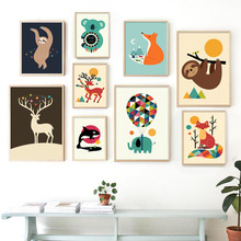 Wall Art Canvas Painting Fox Elk Raccoon Koala Animals Prints Nordic Posters And Pictures Baby Kids Room Decor