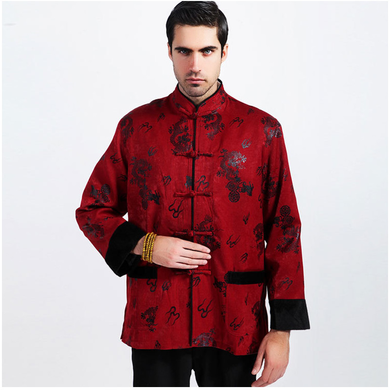 Top Selling Winter Padded Brocade Red Jacket Chinese Men Long sleeve Coats Thicking Outerwear Size S M L XL XXL XXXL 2318 adjustable pro safety equestrian horse riding vest eva padded body protector s m l xl xxl for men kids women camping hiking