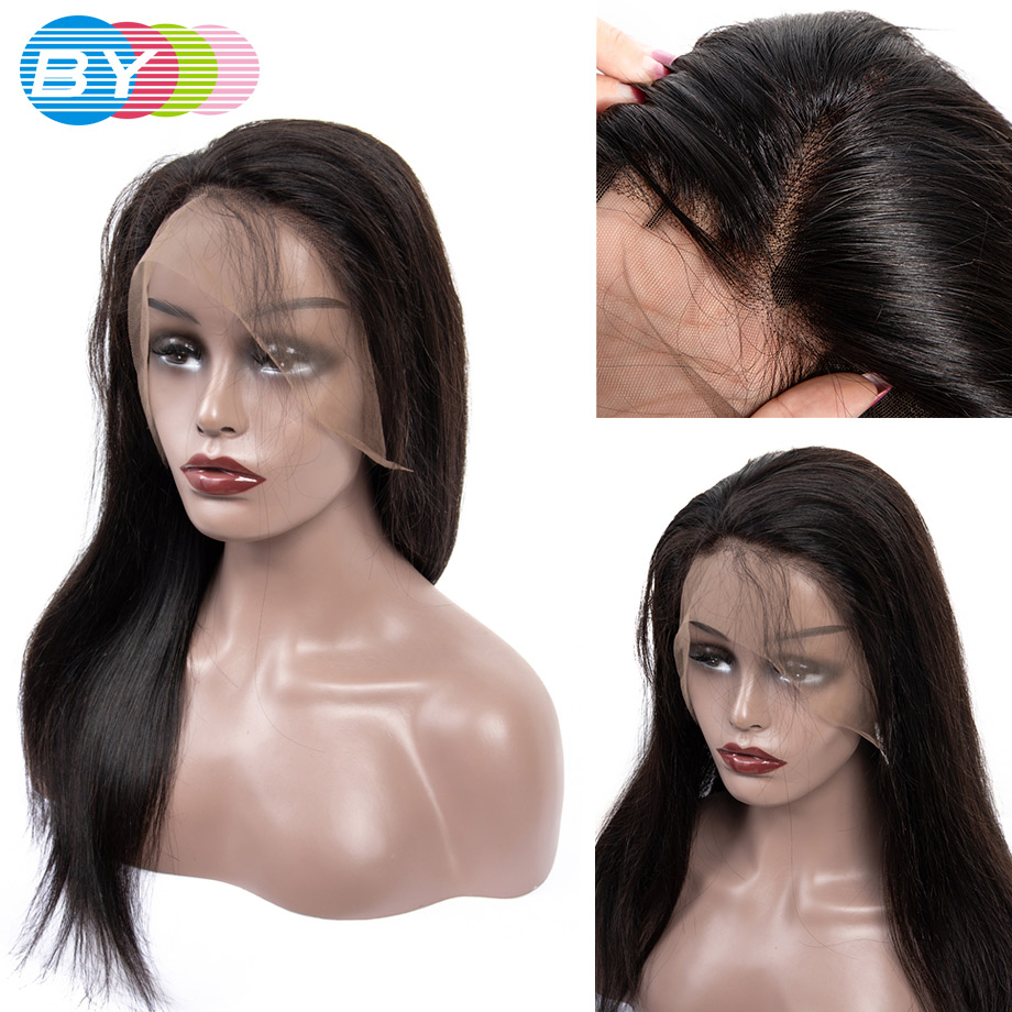 BY 360 Lace Front Human Hair Wigs For Women Brazilian Straight Bob Wig With Baby Hair