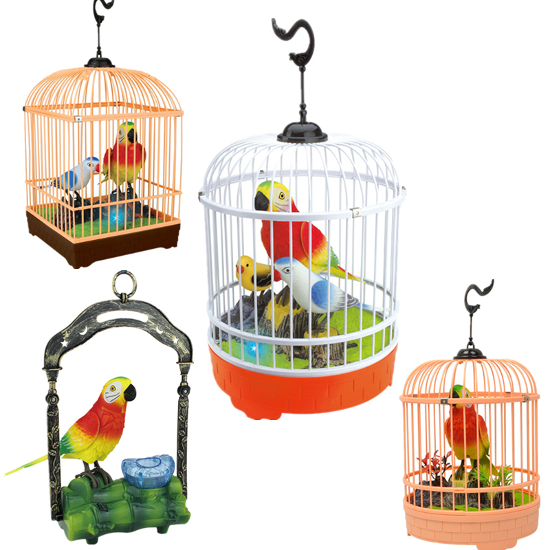 Children Electronic Interactive Talking Toys Pets Simulation Bird Cage Birdcage Kids Christmas New Year Gift Garden Ornaments