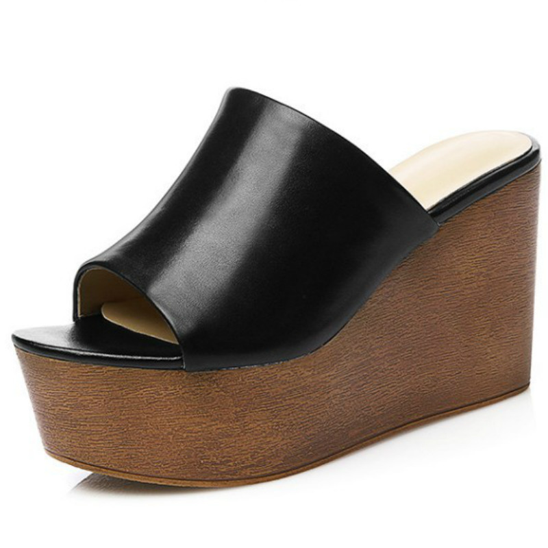 ФОТО top brand women genuine leather slides 2017 black white thick platforms high wedgeds flat heels fashion ladies summer flat shoes