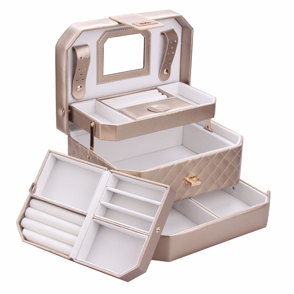 Large Jewelry Box Golden Travel Case PU Leather Organizer Girl Portable 3 Layers Jewellery Case Ring