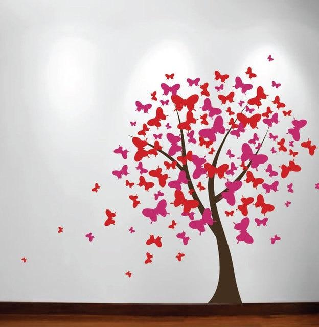 US $20.4 20% OFF|DIY Kinderzimmer Dekoration Große Wand Baum Kinder  Kindergarten Aufkleber Schmetterling Kirschblüte Wandbild Mädchen Raum ...