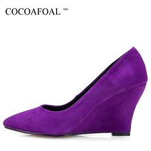 COCOAFOAL Woman Purple Wedge Shoes Fashion Stiletto Sheepskin Ultra High  Heels Shoes Black Pointed Toe Genuine 4b41cef9723b