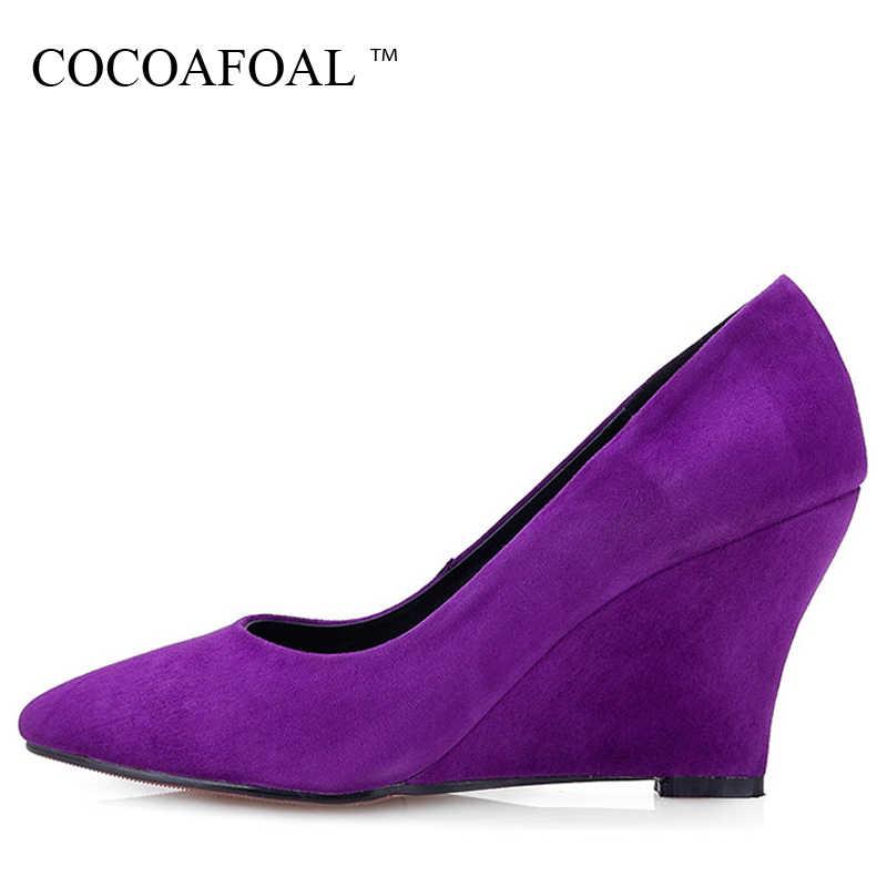 COCOAFOAL женские фиолетовые туфли на танкетке, модные туфли из овечьей кожи  на очень высоком 99b2dd7fb16