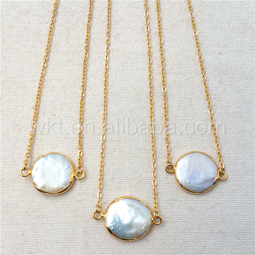 WT N821 Wholesale Natural freshwater pearl coin necklace handmake lovely real pearl necklace 24k gold color