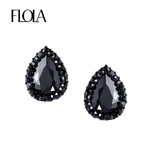 Flola Vintage Gothic Earrings For Women Crystal Black Stud Victorian Punk Costume Jewelry Earings
