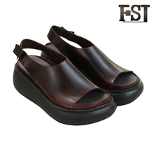 FSJ Genuine Cow Leather Dark Brown Womens Basic Mature Front Rear Strap Open Wedges Pigskin Sandals Casual Hook Loop shoes 2017 novelty women s sandals ankle wrap genuine leather loop hook women shoes dark pink female shoes cow leather