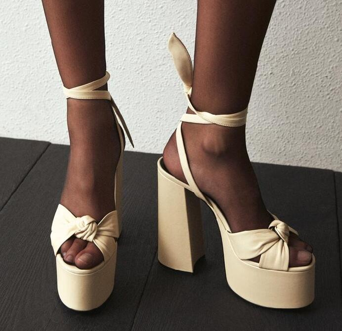 Moraima Snc Summer Sexy Sandals Open Toe Platform Thick Heels Woman Shoes Rome Style Leather Lace Up Runway Dress Heels Sandal