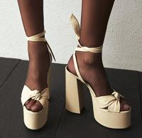 Moraima Snc Summer Sexy Sandals Open Toe Platform Thick Heels Woman Shoes Rome Style Leather Lace Up Runawy Dress Heels Sandal