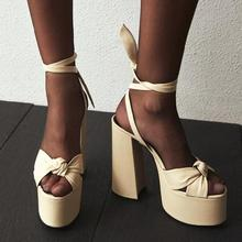 Moraima Snc Summer Sexy Sandals Open Toe Platform Thick Heels Woman Sho