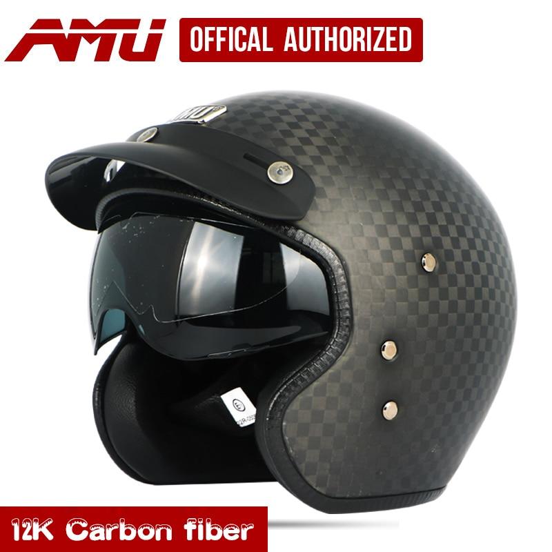 Us 99 0 Amu Half Helmet Carbon Fiber Helmets Retro Helmet Motorcycle Moto Vintage Casque Jet Scooter Helmet Motorhelm Capacete Moto In Helmets From