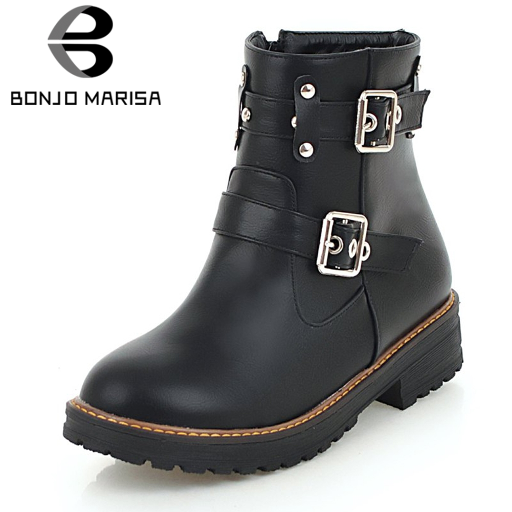 BONJOMARISA Women Punk Style Chelsea Motorcycle Boots Low Heel Platform Autumn Winter Shoes Woman Buckle Rivet Ankle Boots women martin boots 2017 autumn winter punk style shoes female genuine leather rivet retro black buckle motorcycle ankle booties