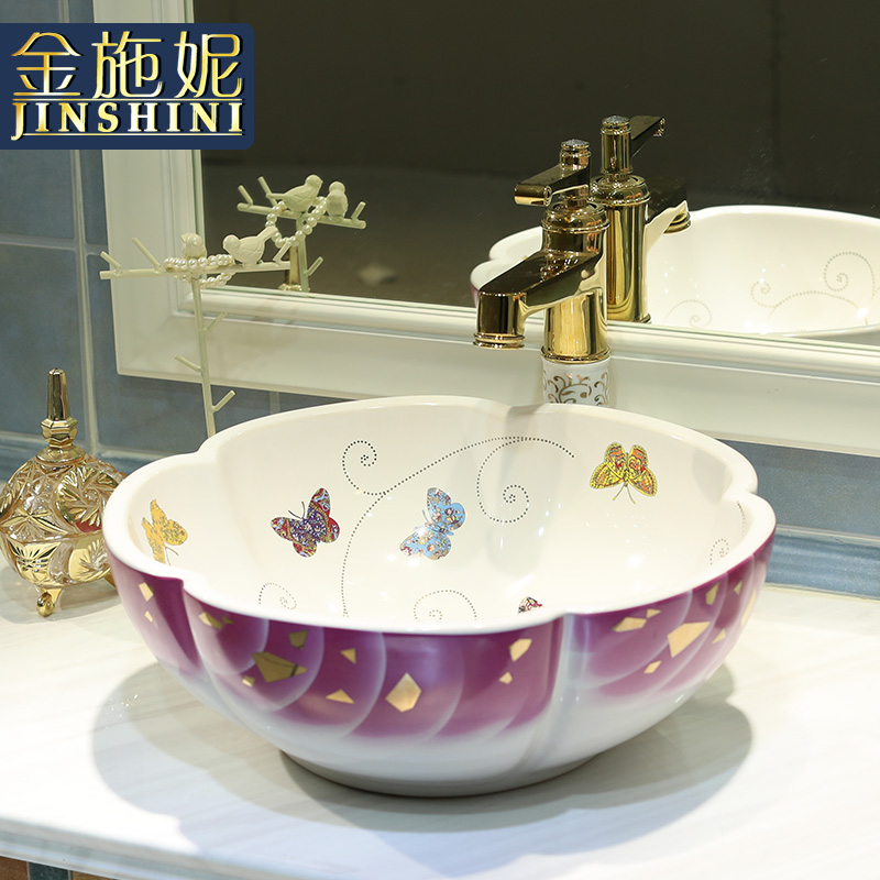 Gold ceramic counter basin circle plate petals bathroom washbasin wash basin butterfly