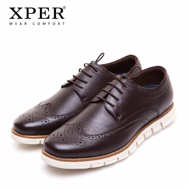 Бренд XPER Мужская обувь Весна Новая мода мужская повседневная обувь спортивная прогулочная обувь броги стиль новинка шнурки без завязок # XTM02735BR