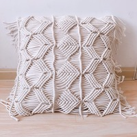 Decorative wedding pillow cover Handmade cream macrame BOHO cushion cover Black White Beige cushion Customized size throw pillow