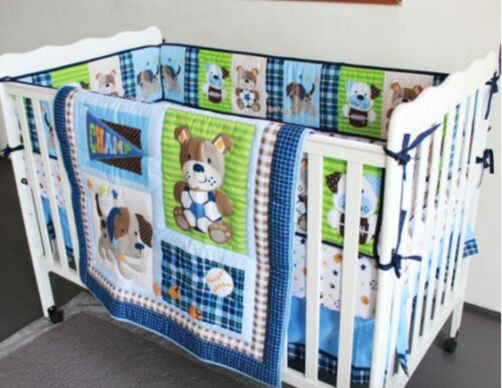 9 Piece Boy Baby Bedding Set Sports Team Nursery Quilt Bumper Sheet Crib Skirt