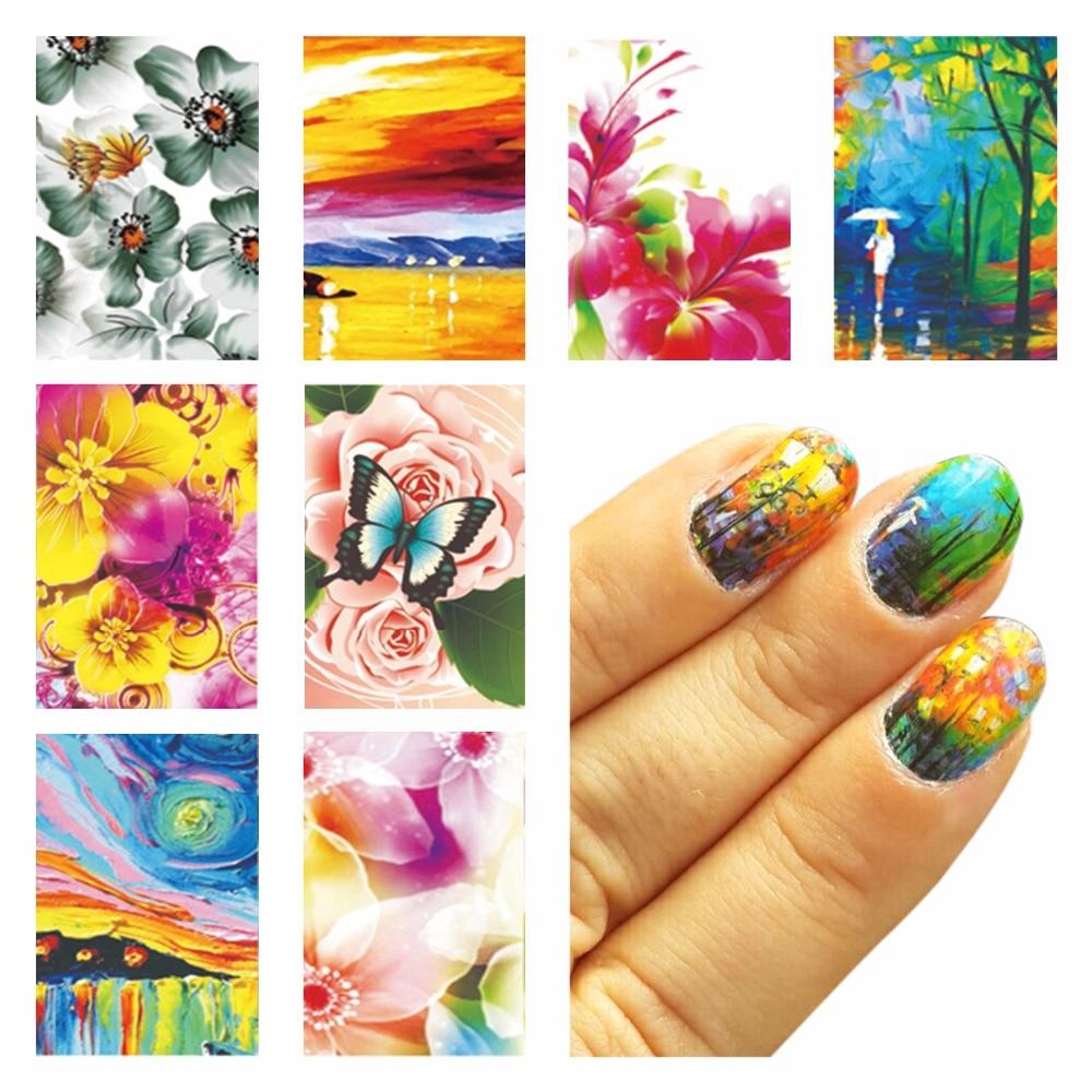 ᗑZKO 1 Sheet Optional Oil Painting Flower Design Water Decals Water ...