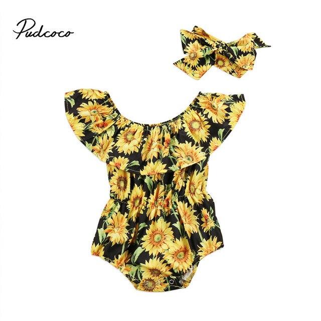 12ab57feb Rural Style Newborn Baby Girl Clothes Off shoulder Infant Kid Flower Romper  Jumpsuit+Headband Children