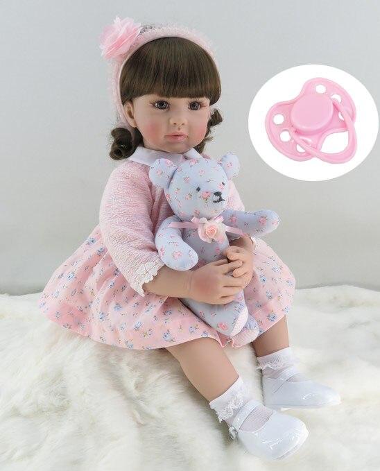 60 cm Silicone Reborn Fille Bébé Poupée Jouets Vinyle Rose Princesse Toddler Bébés Poupées Avec Ours D'anniversaire Cadeau Édition Limitée poupée
