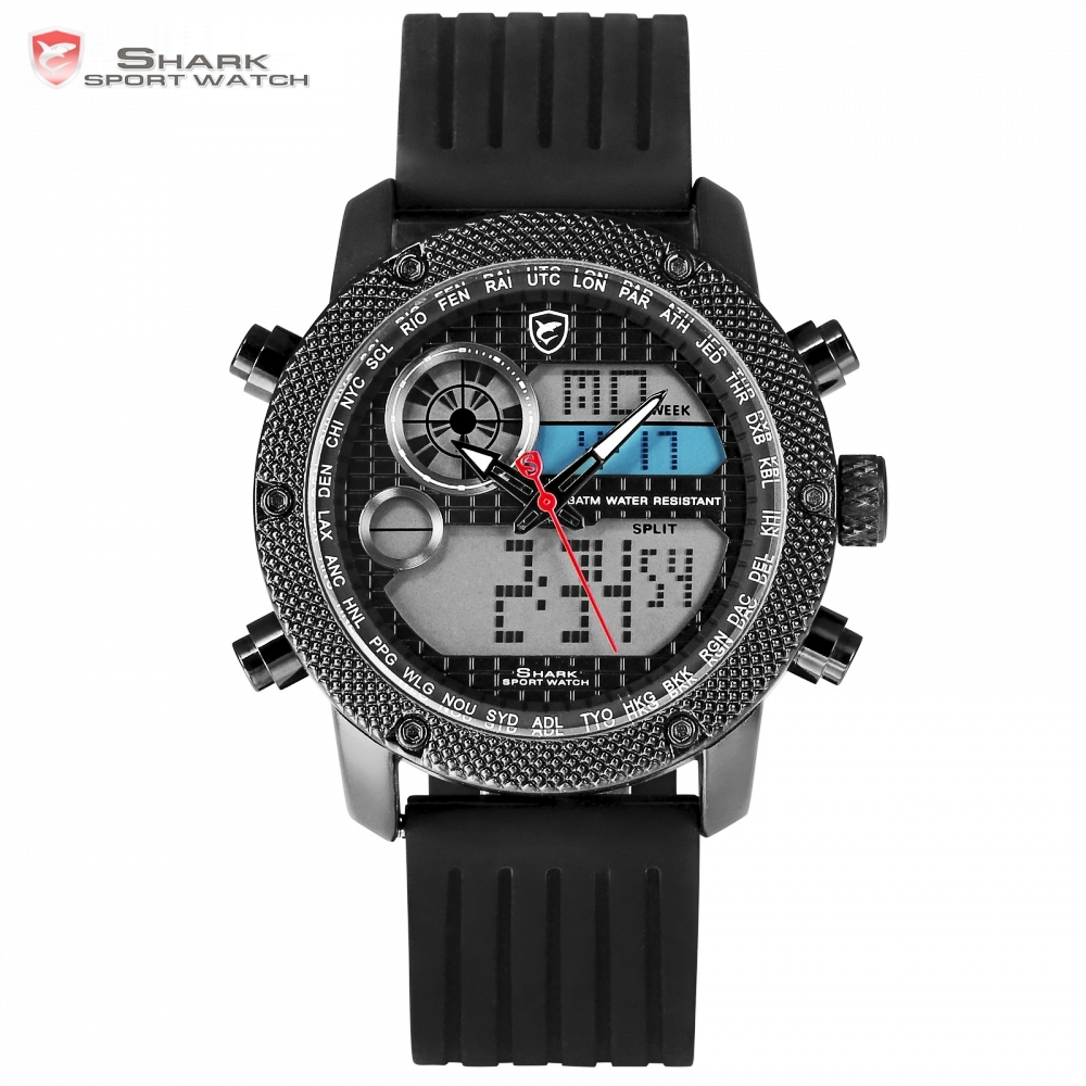 Porbeagle Shark Sport Watch Men Top Luxury Brand Men's LCD Digital Date Quartz Silicone Wrist Chronograph Sports Watches /SH585 top brand luxury digital led analog date alarm stainless steel white dial wrist shark sport watch quartz men for gift sh004
